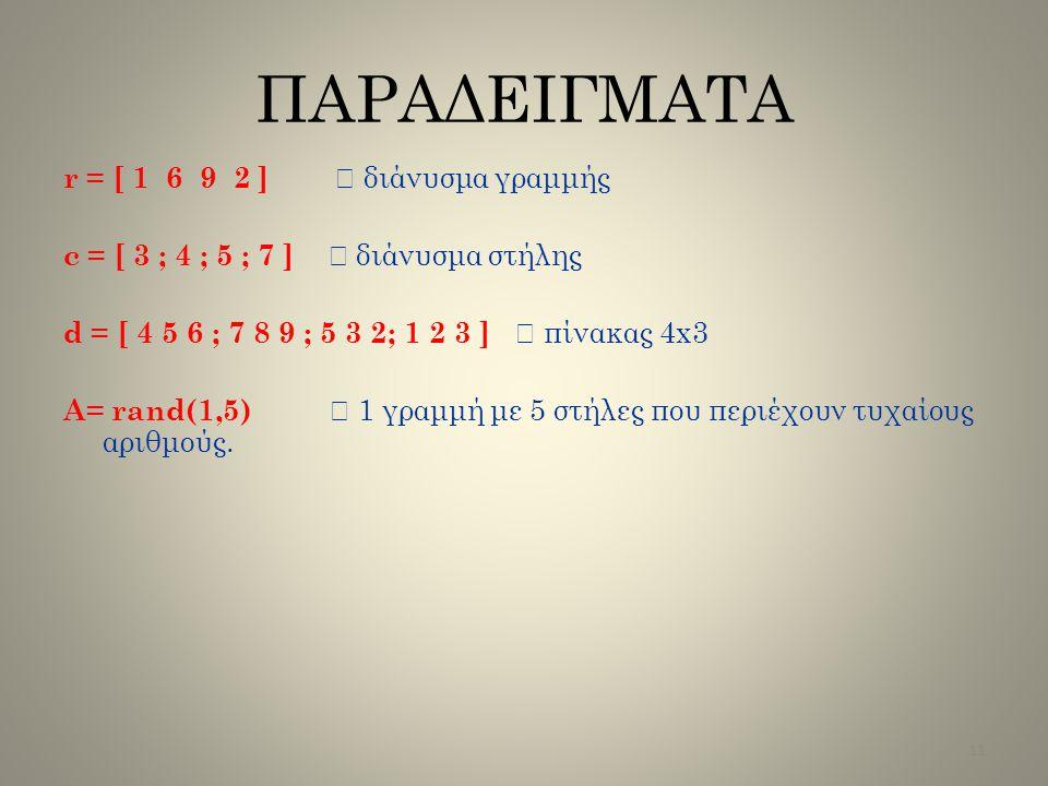 ΠΑΡΑΔΕΙΓΜΑΤΑ r = [ 1 6 9 2 ]  διάνυσμα γραμμής